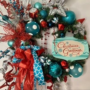 Designer Christmas Contemporary Wreath Teal Red